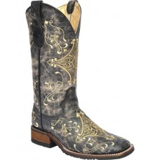 Circle G By Corral Ladies Brown Crackle/Bone Embroidery Boot L5228