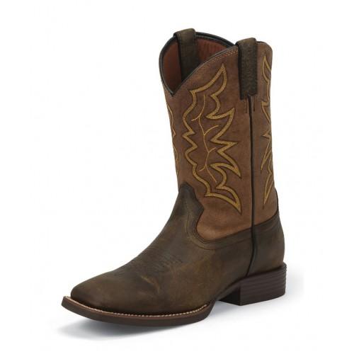 Justin Men S Brown Milled Stampede Boots 7223