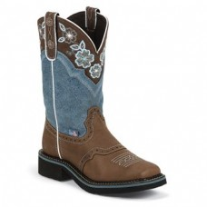 JUSTIN BROWN GYPSY BOOTS WITH DUSTY BLUE TOP L9950