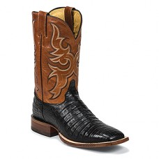 JUSTIN Men's BLACK CAIMAN EXOTIC WESTERN BOOTS 9615