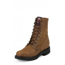 """Justin Mens Steel Toe 8"""" Aged Bark Lace Up Work Boot 764"""