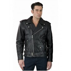Hot Leathers Mens Leather Motorcycle Jacket JKM1002