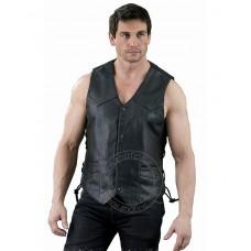 Shaf Black Leather Vest SH1315