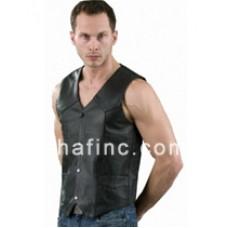 Shaf Black Leather Vest SH1309